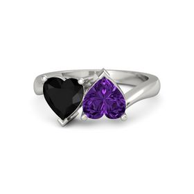 14K White Gold Ring with Amethyst & Black Onyx