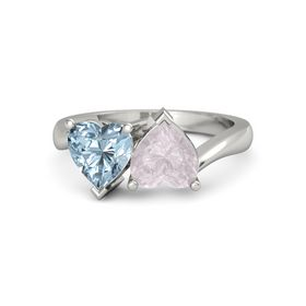 14K White Gold Ring with Rose Quartz & Aquamarine