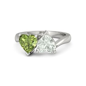 14K White Gold Ring with Green Amethyst & Peridot
