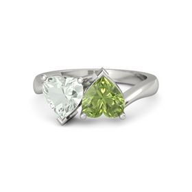14K White Gold Ring with Peridot & Green Amethyst