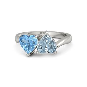 14K White Gold Ring with Aquamarine & Blue Topaz