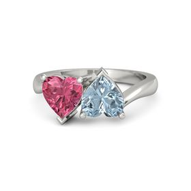14K White Gold Ring with Aquamarine & Pink Tourmaline