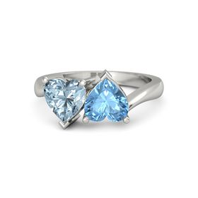 14K White Gold Ring with Blue Topaz & Aquamarine