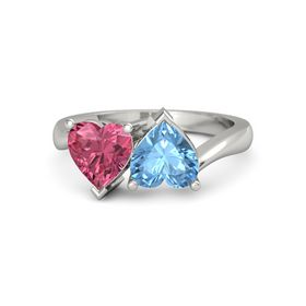 14K White Gold Ring with Blue Topaz & Pink Tourmaline