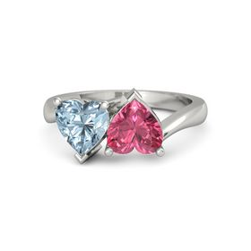 14K White Gold Ring with Pink Tourmaline & Aquamarine