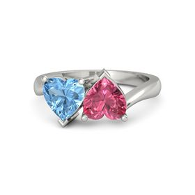 14K White Gold Ring with Pink Tourmaline & Blue Topaz