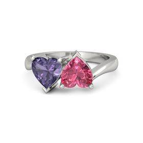 14K White Gold Ring with Pink Tourmaline & Iolite