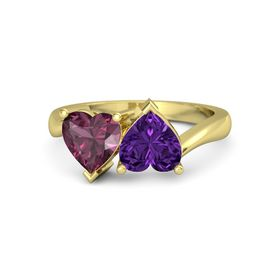 14K Yellow Gold Ring with Amethyst and Rhodolite Garnet