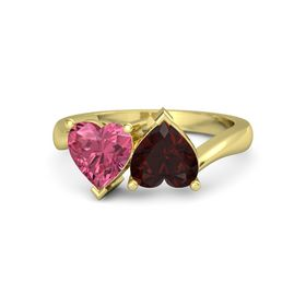 14K Yellow Gold Ring with Red Garnet & Pink Tourmaline