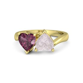 14K Yellow Gold Ring with Rose Quartz and Rhodolite Garnet