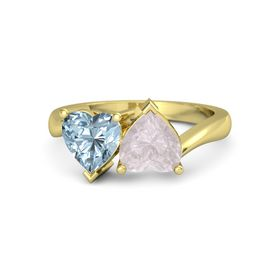 14K Yellow Gold Ring with Rose Quartz and Aquamarine