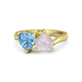 14K Yellow Gold Ring with Rose Quartz & Blue Topaz