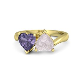 14K Yellow Gold Ring with Rose Quartz & Iolite