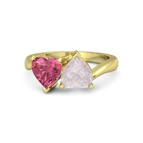14K Yellow Gold Ring with Rose Quartz and Pink Tourmaline