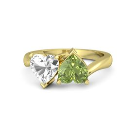 14K Yellow Gold Ring with Peridot & Rock Crystal
