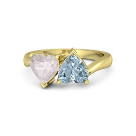 14K Yellow Gold Ring with Aquamarine & Rose Quartz