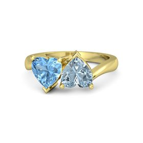 14K Yellow Gold Ring with Aquamarine & Blue Topaz