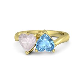 14K Yellow Gold Ring with Blue Topaz & Rose Quartz