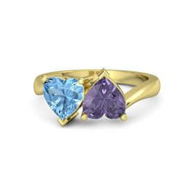 14K Yellow Gold Ring with Iolite & Blue Topaz