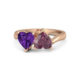 18K Rose Gold Ring with Rhodolite Garnet and Amethyst