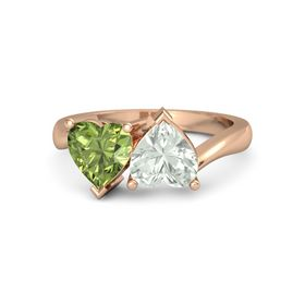 18K Rose Gold Ring with Green Amethyst and Peridot