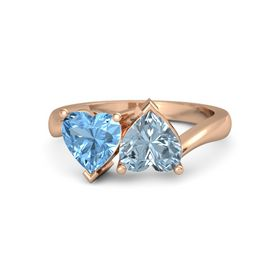 18K Rose Gold Ring with Aquamarine & Blue Topaz