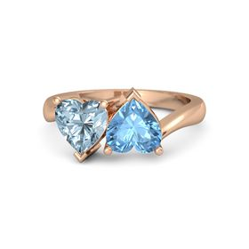 18K Rose Gold Ring with Blue Topaz and Aquamarine