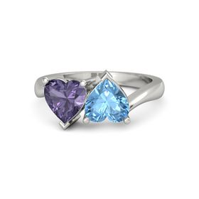 18K White Gold Ring with Blue Topaz and Iolite