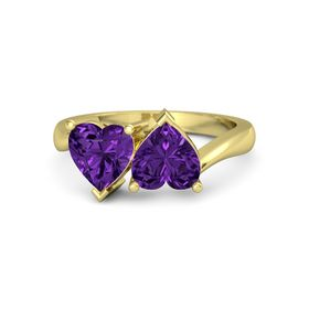 18K Yellow Gold Ring with Amethyst