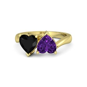 18K Yellow Gold Ring with Amethyst & Black Onyx