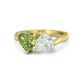 18K Yellow Gold Ring with Green Amethyst and Peridot