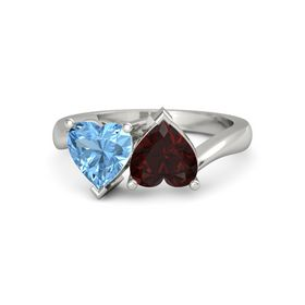 Palladium Ring with Red Garnet and Blue Topaz
