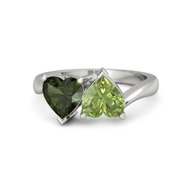 Palladium Ring with Peridot & Green Tourmaline