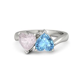 Palladium Ring with Blue Topaz & Rose Quartz
