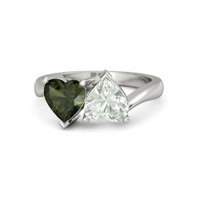 Platinum Ring with Green Amethyst & Green Tourmaline