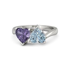 Platinum Ring with Aquamarine and Iolite