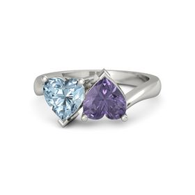 Platinum Ring with Iolite and Aquamarine
