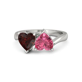 Platinum Ring with Pink Tourmaline and Red Garnet