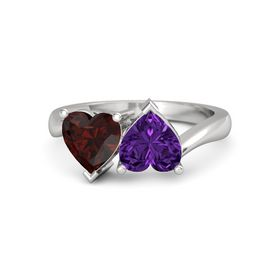 Sterling Silver Ring with Amethyst & Red Garnet