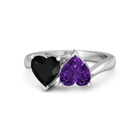 Sterling Silver Ring with Amethyst & Black Onyx