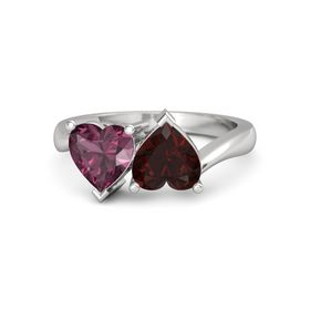 Sterling Silver Ring with Red Garnet and Rhodolite Garnet
