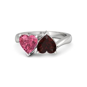 Sterling Silver Ring with Red Garnet & Pink Tourmaline