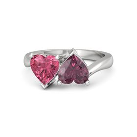 Sterling Silver Ring with Rhodolite Garnet & Pink Tourmaline
