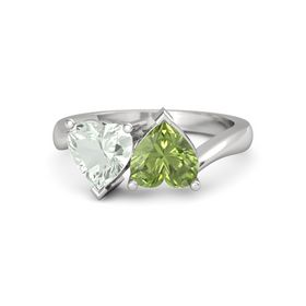 Sterling Silver Ring with Peridot & Green Amethyst