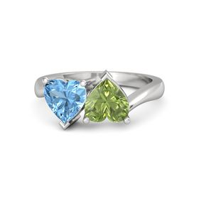 Sterling Silver Ring with Peridot & Blue Topaz