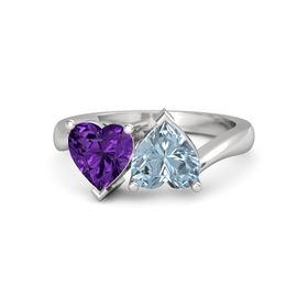 Sterling Silver Ring with Aquamarine & Amethyst
