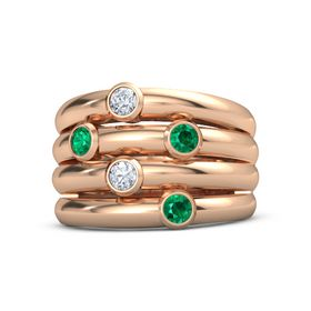 14K Rose Gold Ring with Emerald & Diamond