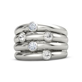14K White Gold Ring with Rock Crystal & Diamond