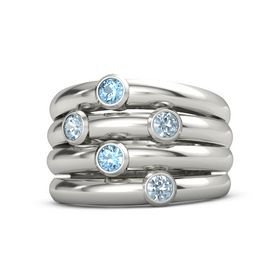 14K White Gold Ring with Aquamarine and Blue Topaz