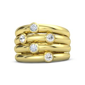14K Yellow Gold Ring with Rock Crystal and Diamond
